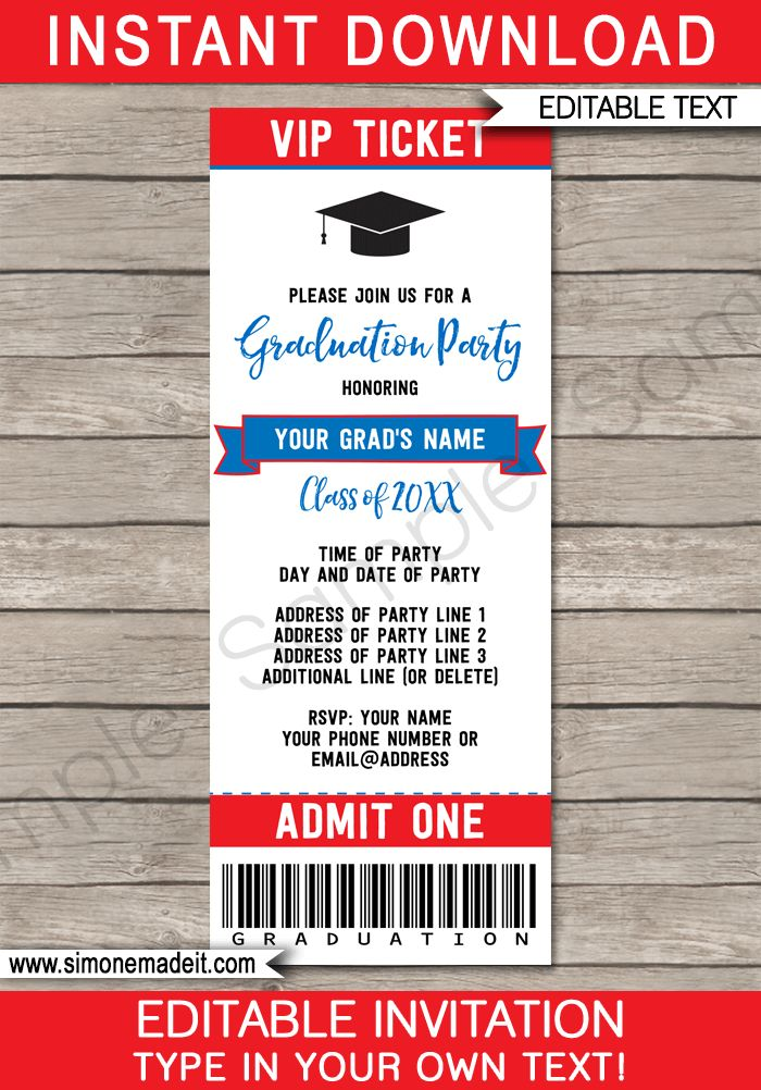 Printable Graduation Party Ticket Invitations - High School Graduation Announcements - Grad Party Ticket Invites - Editable Template - Instant Download - Red & Blue #graduationparty #graduation #graduationticket