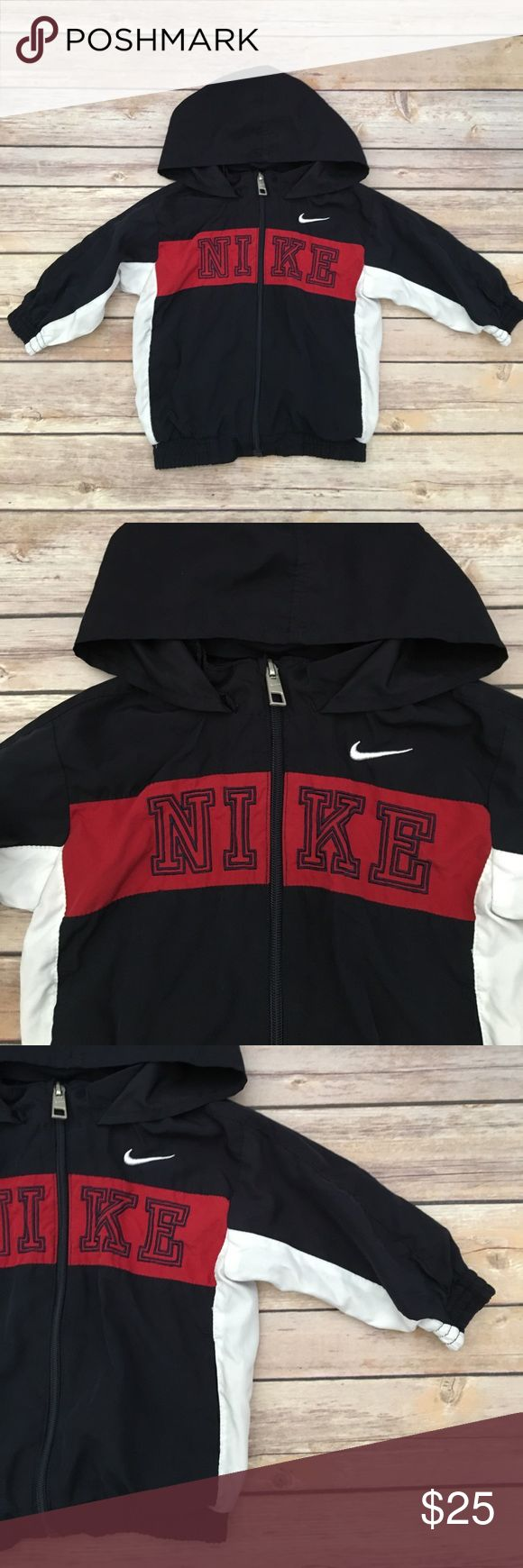 Nike Zip Up Jacket w/ Hood! Blue/Red/White Nike long sleeve zip up jacket with hood! Great condition! Nike Jackets & Coats Raincoats