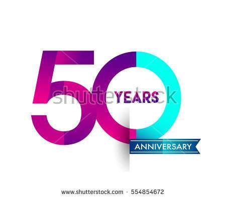 fifty years anniversary celebration logotype colorfull design with blue ribbon, 50th birthday logo on white background