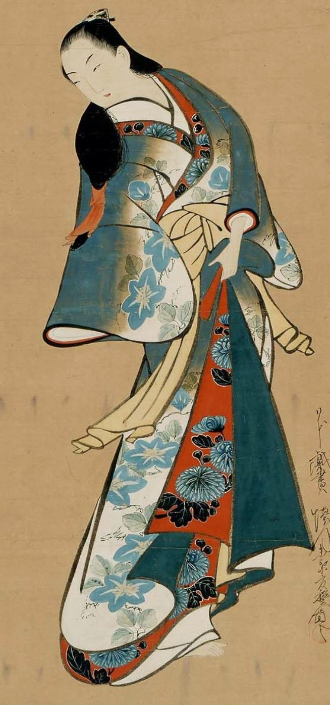 Kaigetsudo Doshu | Standing courtesan. Hanging scroll; ink and colour on paper, 1704-1716, Japan