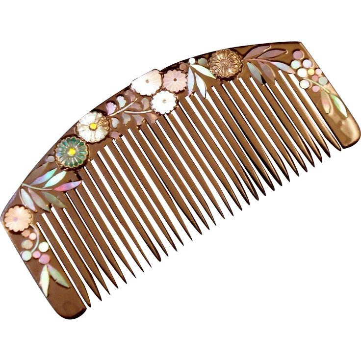 Japanese Abalone Chrysanthemums And Black Lacquer Vintage Kushi Comb Hairpins Hair Combs