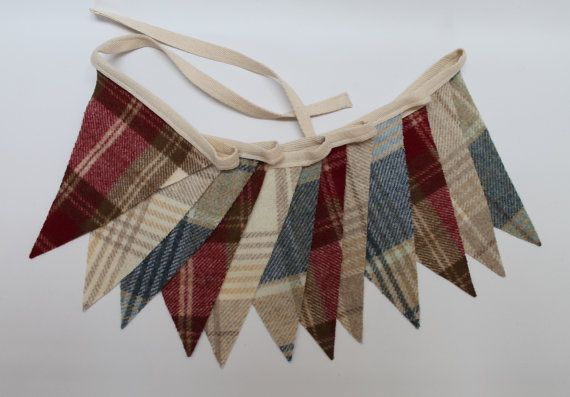 Tweed Bunting Red Cream and Blue Pennant Flags by DaisyBelleShop