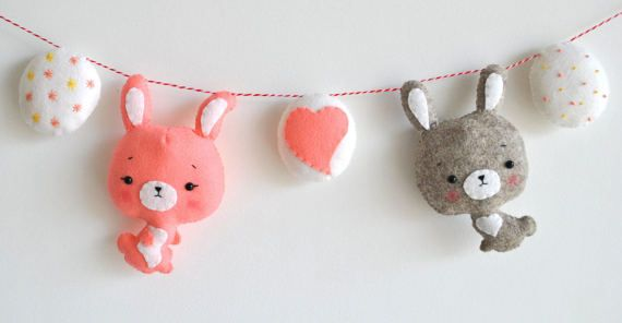Easter baby garland Bunny banner Easter rabbit Easter baby gift Wall art Nursery decor Kids room decoration Baby shower gift