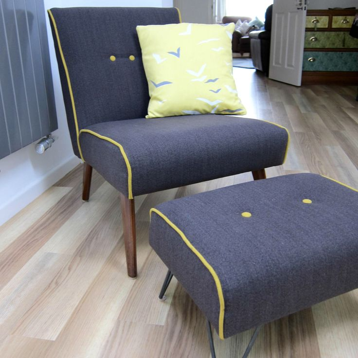 Mid-Century style grey cocktail chair with matching bespoke hairpin leg footstool