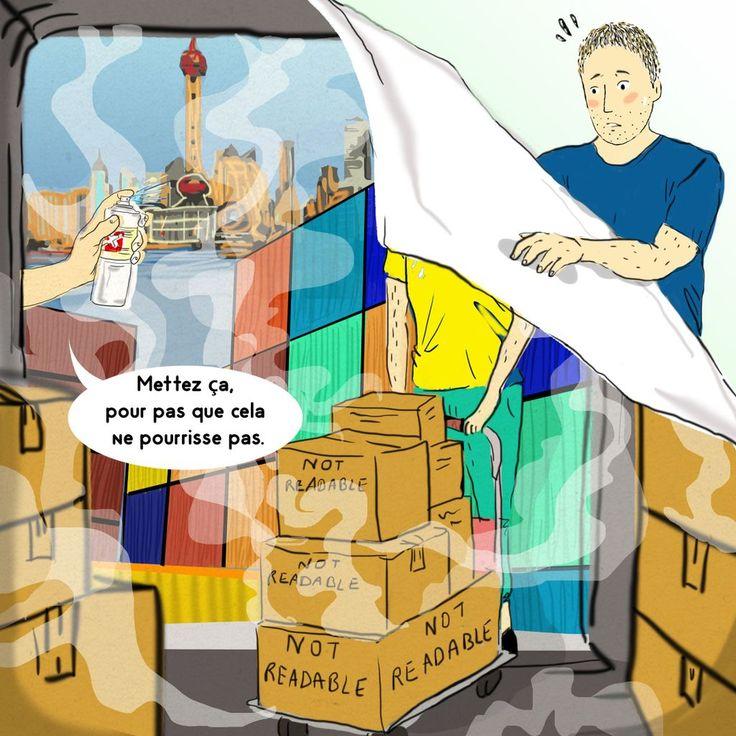 Pour acheminer les marchandises manufacturées loin de chez nous, des produits chimiques sont nécessairement vaporisés dans les conteneurs afin d'éviter des dégâts pendant leur voyage de 6 à 8 semaines sur les océans. Problème: une partie de ces produits (chimiques ?) se retrouvent chez nous, dans nos cuisines, salons, chambres à coucher. Mais aussi nos vêtements, notre alimentation etc.