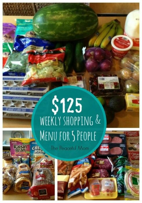FacebookTwitterGoogle+PinterestE-mailLinkedIn My $125 Weekly Grocery Shopping and Complete Menu for 5 People: See how I feed my family of five (including 3 teens) real food for $125/week, or just $500 a month. Subscribe to my FREE e-notes to get my best tips to help you save money, get organized and enjoy life sent right to your inbox! You can also join …