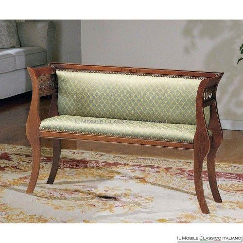 Divanetto imbottito in legno massello art. 164 Imbottito personalizzabile con varie stoffe