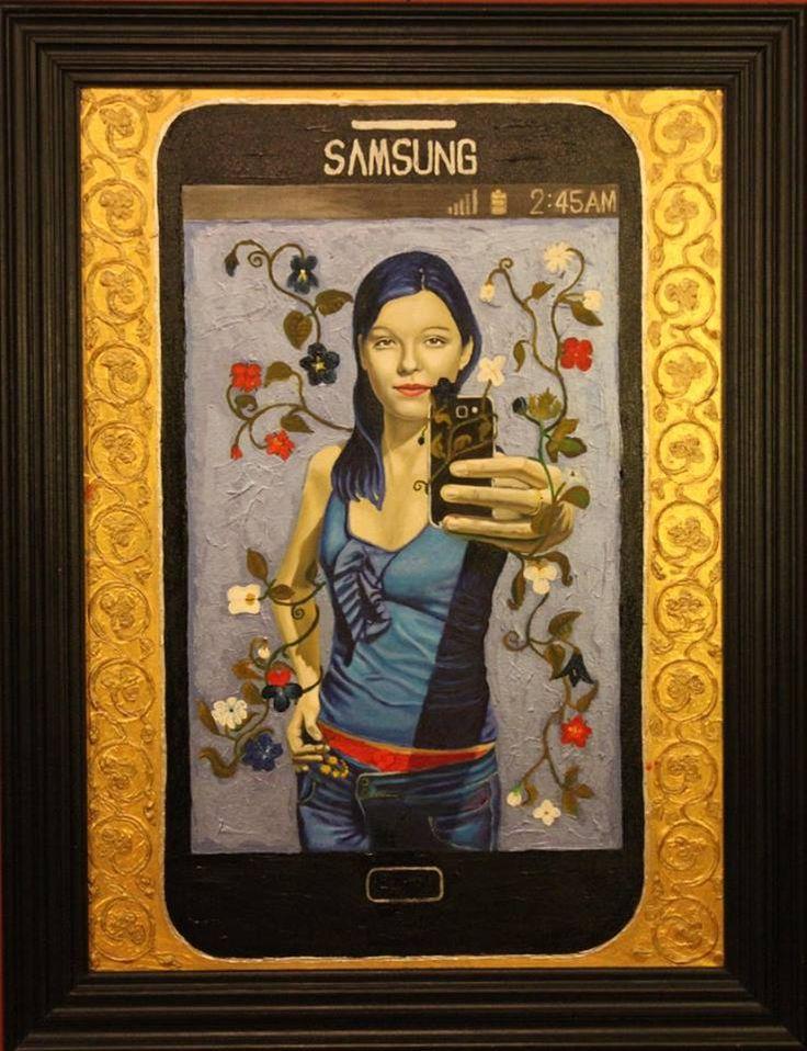 """,,MMS selfie"""" 2012r. olej-akryl na płótnie, 100x73cm. Obraz nagrodzony w konkursie..."""