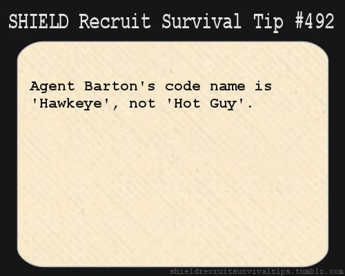 S.H.I.E.L.D. Recruit Survival Tip #492: Agent Barton's code name is 'Hawkeye', not 'Hot Guy'. [Submitted anonymously]