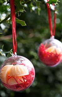 Great Christmas Tree decorations - plastic bauble filled with one of our snowflake soaps www.littlenanniessoapcompany.com