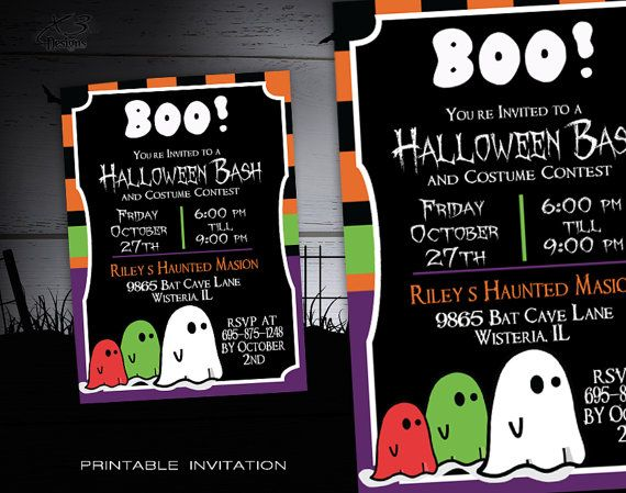 Printable Halloween Party Invitation Kids - DIY Halloween Custom Party Invite - Halloween Invitations Printable - Spooky Halloween Invites