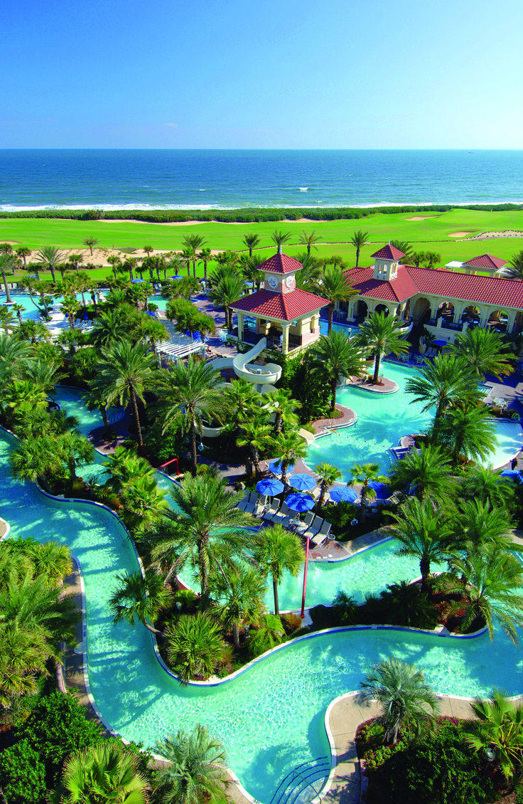 Search for pink shells along the beach at this pastel-colored resort near St. Augustine. Then give in to the kids' eagerness to splash around the 91,000-square-foot water park, with its lazy river, water flume, and multilevel pool complex. Pictured: Hammock Beach Resort, Palm Coast, Florida.