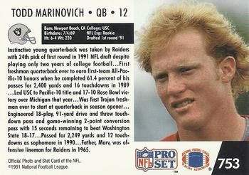 1991 Pro Set #753 Todd Marinovich Back