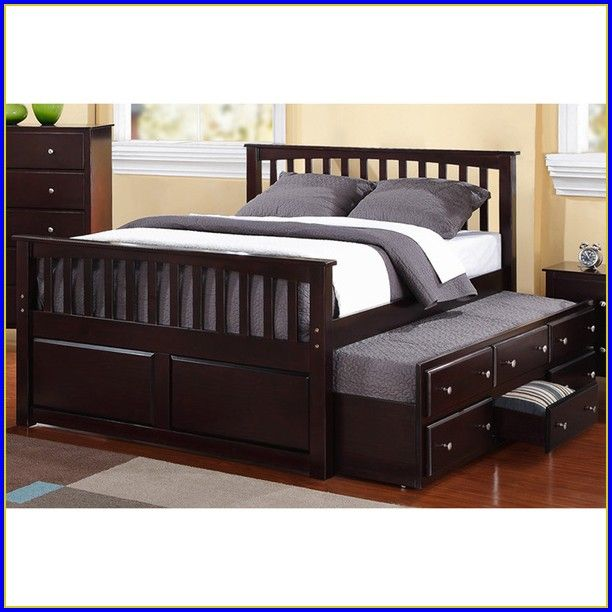 Queen Bed With Trundle Unit Perfect For Your Pups To Still Sleep You Not Take Over The Lol My Dream Home In 2018 Pinterest