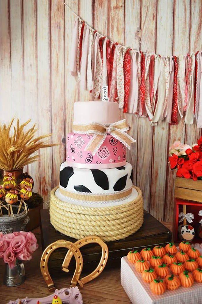 Cake From A Girly Farm Birthday Party Via Kara S Party