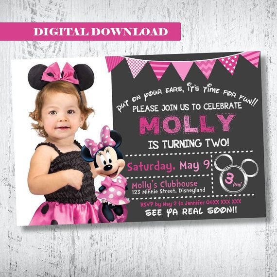 Minnie Mouse Photo Invitation.Minnie Mouse Birthday by WBevents