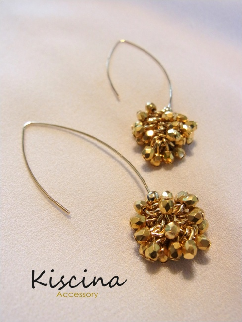 Gold Bead Cluster Earrings