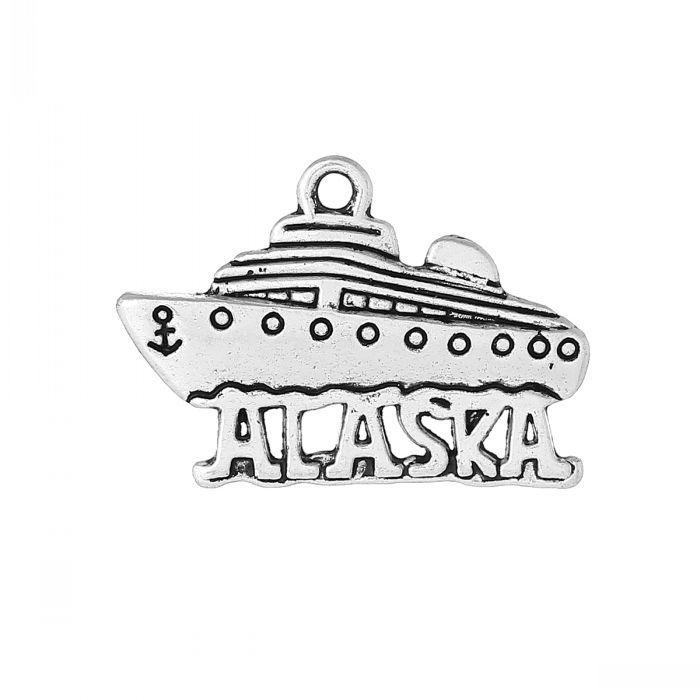 DoreenBeads Шарм Подвески Круизы Лодки Старинное Серебро Аляска Резные 26.0 мм х 18.0 мм, 50 Шт.
