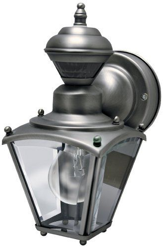 Mini Coach Silver Pewter ENERGY STAR® Outdoor Wall Light by Universal Lighting and Decor. $49.91. This stylish outside wall lamp offers great looks, plus the convenience of a built-in motion detector and dusk-to-dawn sensor. A handy security feature around garages and patios, the motion sensor has a 150 degree, 30 foot range. The design also comes with the Dual Brite two-level lighting feature, which brightens the light output from the light when motion is detected.