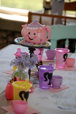 Simple Princess Party... I like the take and toss cups with the silhouette