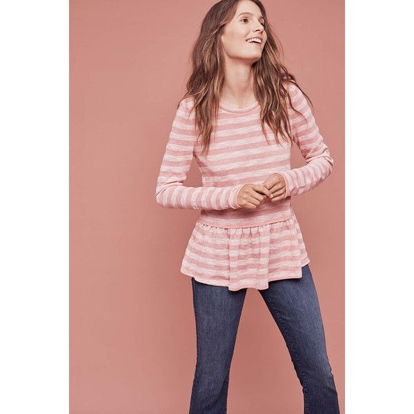 Anthropologie Sherbrooke Peplum Top ($68) via Polyvore featuring tops, pink, pink top, anthropologie tops, pink peplum top, peplum tops and anthropologie