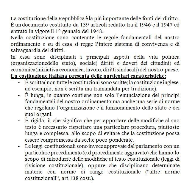 Le caratteristiche della costituzione italiana