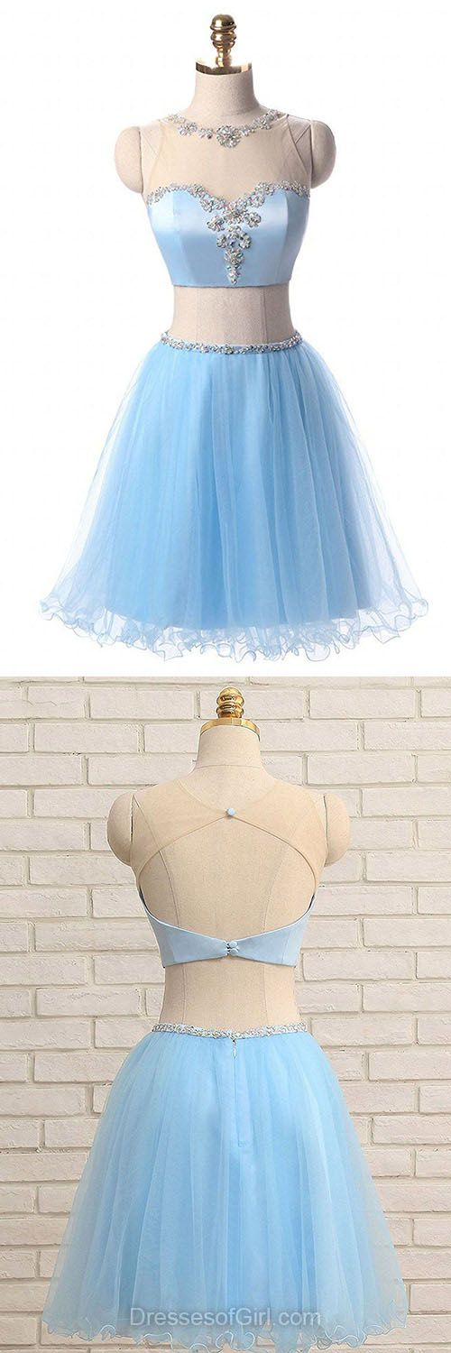 Blue Homecoming Dresses,Two Piece Prom Gowns,Cute Graduation Dress,Beading Party Dress,Short/Mini Cocktail Dress,Cheap Homecoming Dress