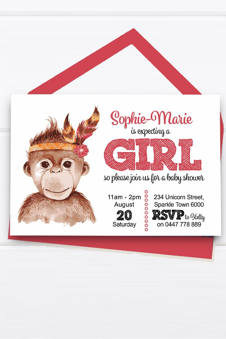 Baby Shower Invitation Customise Download Printable Tribal Monkey Pink Orange Red Girl or Boy Unisex Cute Aztec Feather