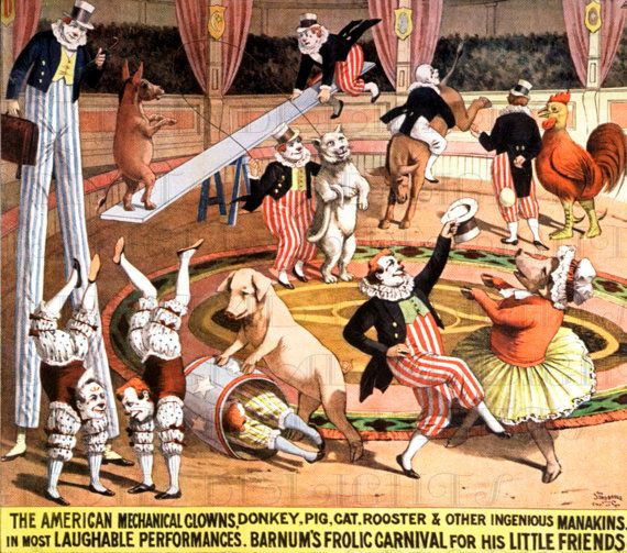 Wacky CLOWNS And Performing Animals CIRCUS Poster. Vintage Circus Illustration. Vintage Circus Digital DOWNLOAD. Vintage Circus Print.