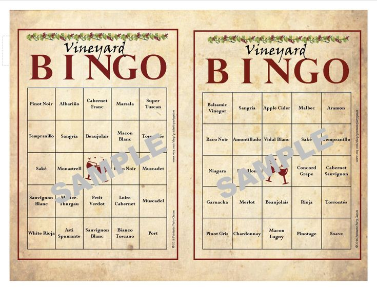 30 Printable Vineyard BINGO Cards, Instant Download, Wine ...