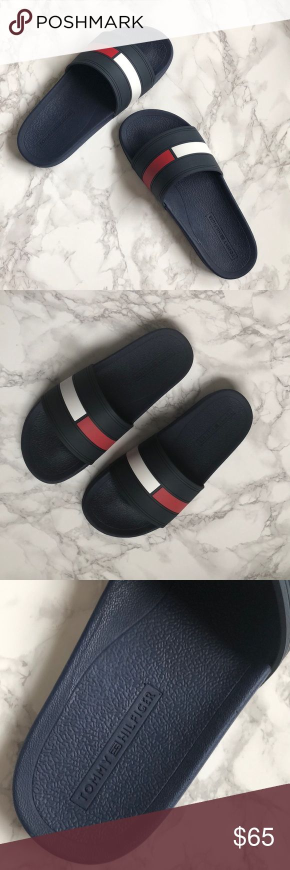 NWT Tommy Hilfiger Navy Logo Rubber Slides NWT Tommy