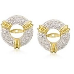 Black Friday Sales Pave Diamond Accent Earring Jackets in 14kt Two Tone Gold Price - Designed to dress up your favorite studs these trend friendly earring jackets add just the right spark with a...
