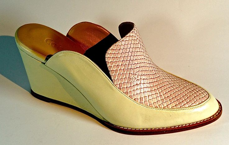 Hand-Made Leather Footwear. Lamb's Leather with snake scale Leather. LM-001C