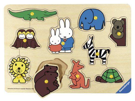 Lizlovelife De leukste verjaardagscadeau's voor kinderen onder de 4. Ravensburger Speelplank Nijntje in de dierentuin – houten puzzel – 10 stukjes – kinderpuzzel. Nijntje