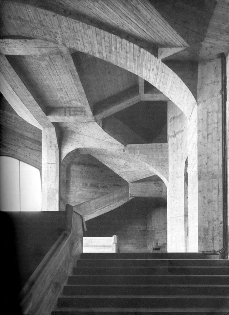 Rudolf Steiner's Second Goetheanum, Interior poured concrete stairs during construction of  Rudolf Steiner's second Goetheanum.