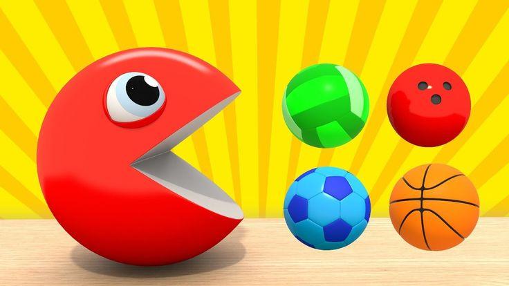 Изучаем Цвета  | ПАКМАН - Цветные Спортивные Мячи | Развивающие мультфил...
