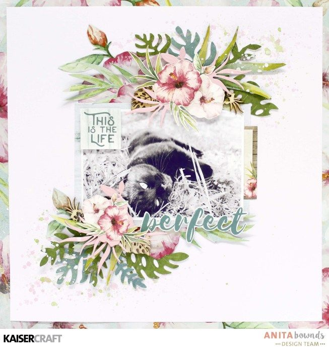 'This is the Life' Layout by Anita Bownds Design Team member for Kaisercraft featuring their 'Hibiscus' Decorative Die - DD417 and 'Island Escape' collection (February 2017) - Saved from kaisercraft.com.au/blog ~ Wendy Schultz ~ Scrapbook Layouts.