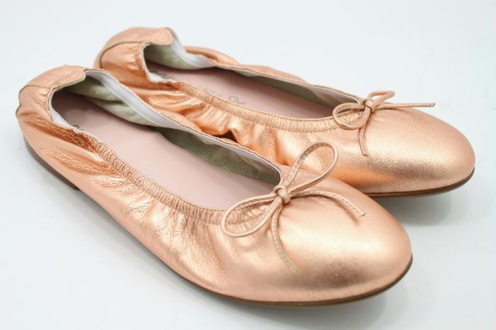 Eli roze goud leren ballerina met strik