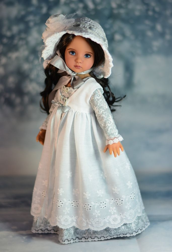 """Fields of Snow"" Regency Dress Outfit for 13"" Dianna Effner Little Darling #LuminariaDesigns"