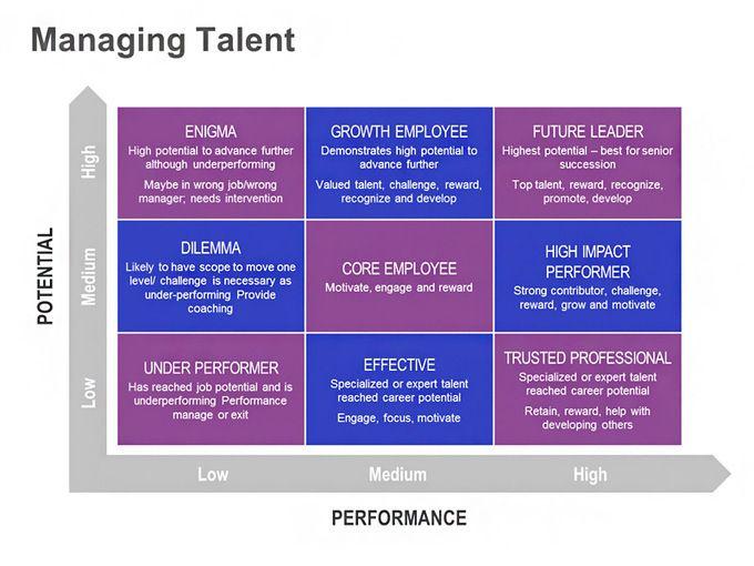Managing Talent – Performance vs. Potential Matrix: Single Slide
