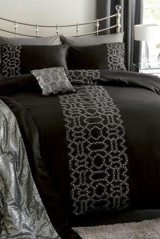 Черный комплект постельного белья с геометрическим рисунком и блестками - Покупайте прямо сейчас на сайте Next: Россия