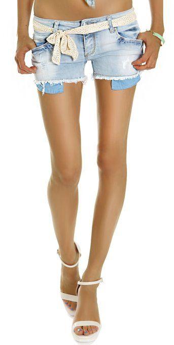 bestyledberlin Damen Jeans, Hotpants, Damenshorts, kurze Jeansshorts destroyed mit Gürtel - Tuch j51e 40/L