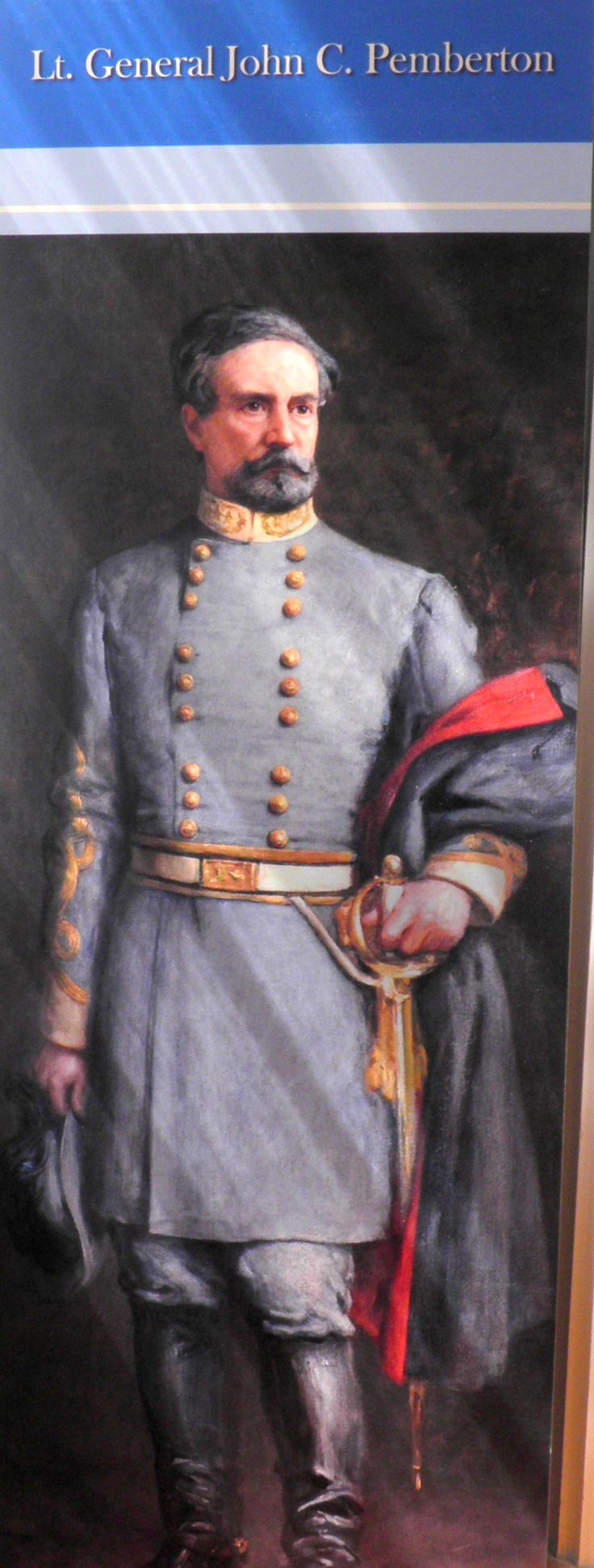 Portrait of Lt. General John C. Pemberton, Confederate commander during the siege of Vicksburg, MS, on display in the General's headquarters