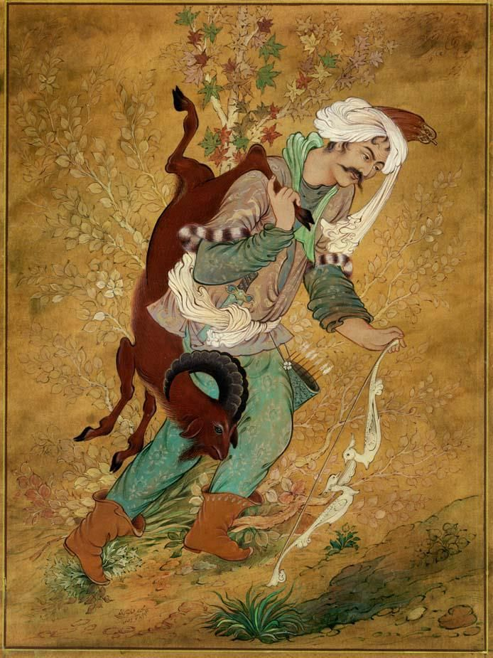 نگارگری/مجید فتاحی(majid fattahi/persian painting) بر گرفته از اثر استاد جزی زاده با رنگ آمیزی متفاوت 1388 اکرلیک - گواش - آبرنگ miniature (20*30) cm مجید فتاحی - اصفهان