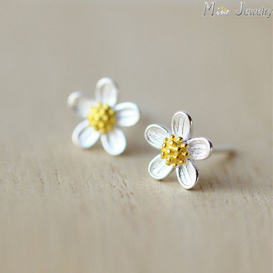 Daisy Flower Earrings - Sterling Silver with Yellow Crystal 4KLpN