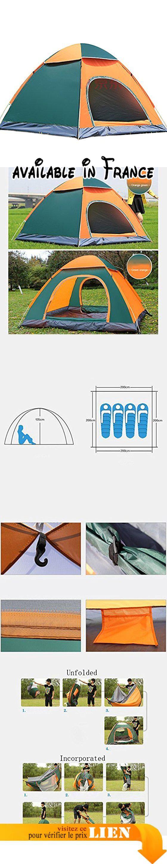 B073TWD4FJ : Deng Tente extérieure 3-4 personnes tente automatique de camping camping tentes orange vert. Y compris la taille de la tente: 200  200  135cm. La technologie du système de dégâts d'eau - une tente construite en une seconde il est facile de tomber.. Deux portes offrent un accès rapide. Peut être utilisé seul comme pavillon pavé au fond canne à pêche auvent et ainsi de suite. Durable robuste 210 T PU tissu eau de pluie éclaboussures et imperméable