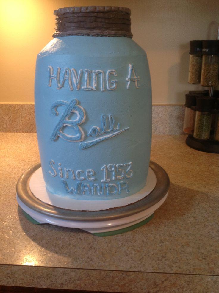 Mason Jar Baby Shower Cake Buttercream Covered Upright