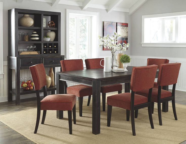 Gavelston Distressed Black Wood Dining Table With Brick Chairs And Server/hutch  Unit