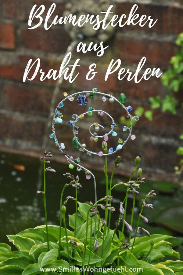 Blumenstecker aus Draht und Perlen selber machen
