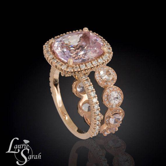Peach Sapphire Wedding Band, Engagement Ring, Wedding Set, Pink Sapphire by LaurieSarahDesigns, $15020.78